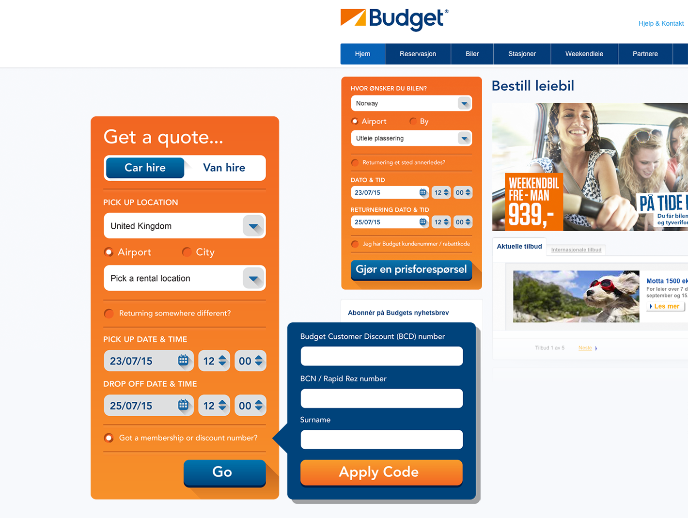 ui elements for the avis budget group website