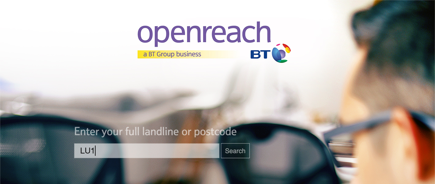 the BT openreach logo and an example of the broadband line checker