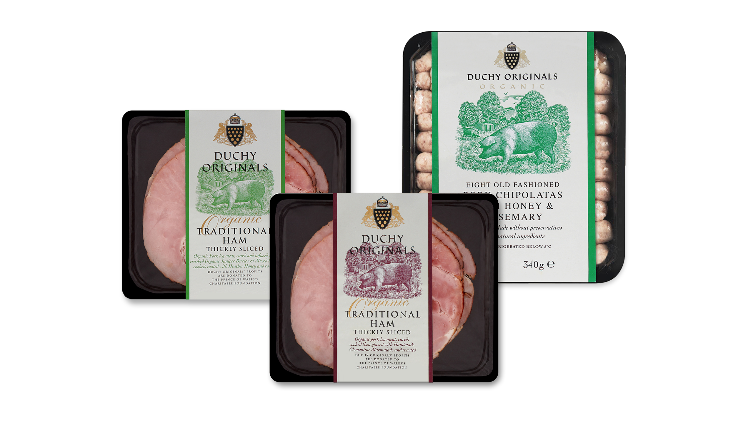 packaging design for organic duchy originals ham and chipolata sausages