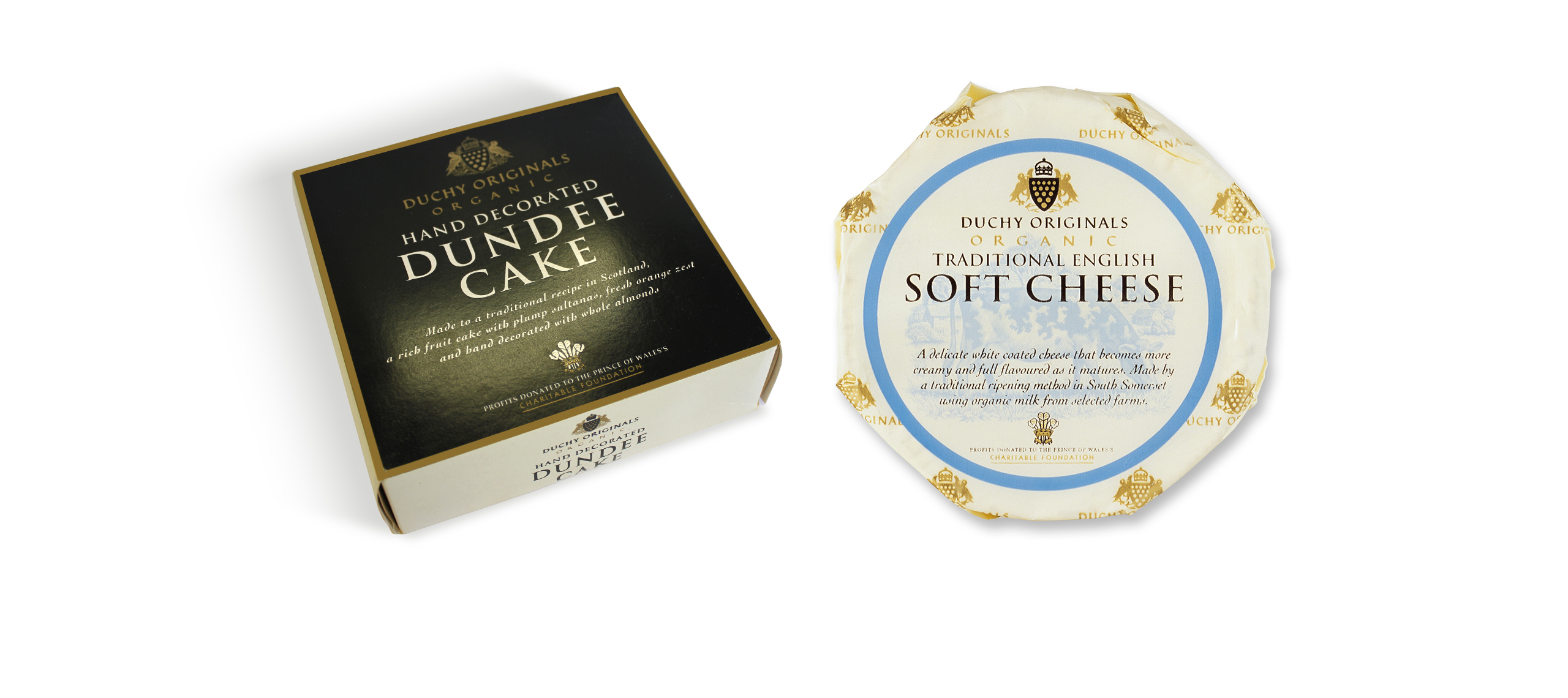 packaging design for dundee cake and traditional english soft cheese