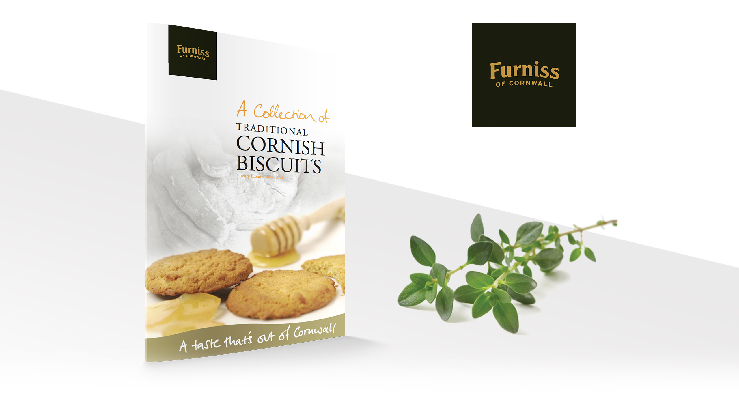 furniss logo next to printed promotional material for traditional cornish biscuits