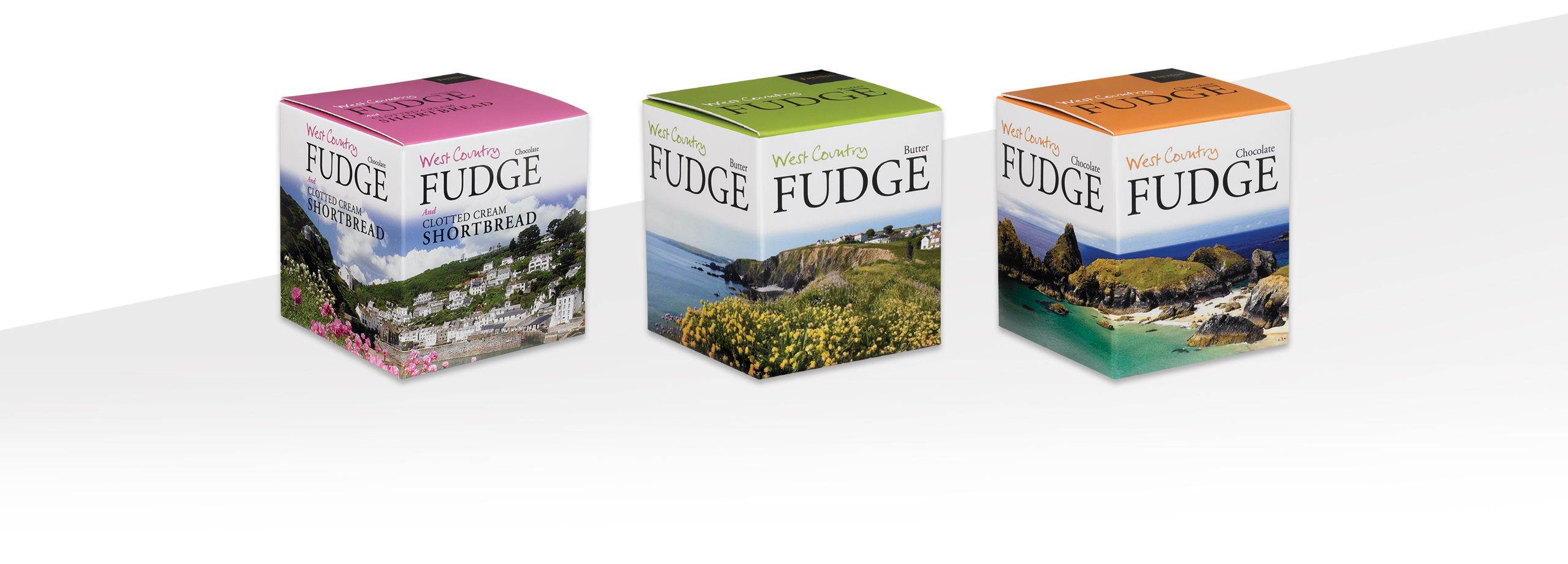 packaging design for westcountry fudge shown in 3 different colours, pink, green and orange