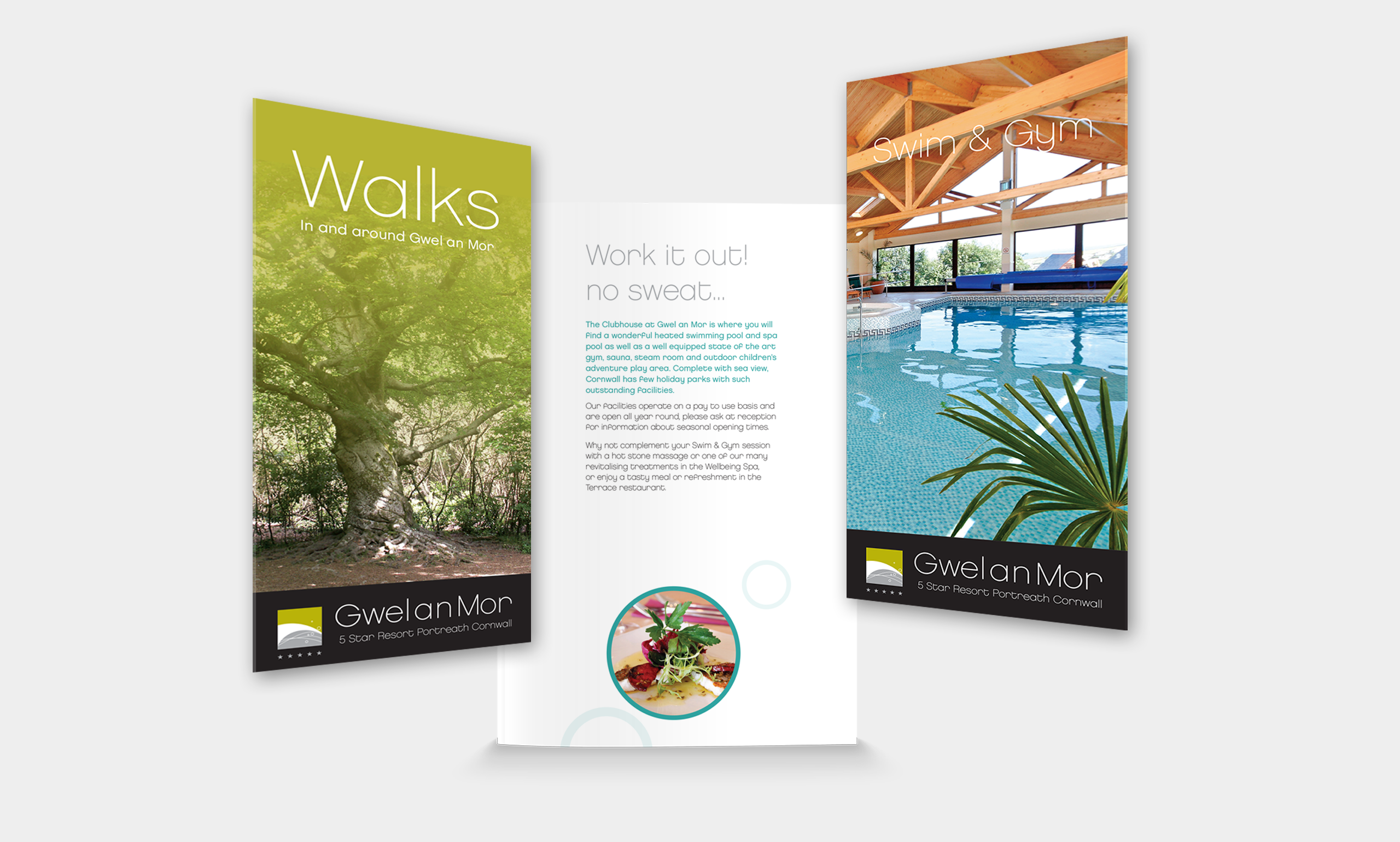 print design and promotional materials promoting walks and gym facilities at gwel an mor resort