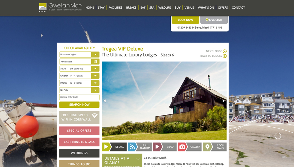 gwel an mor lodge page with booking panel