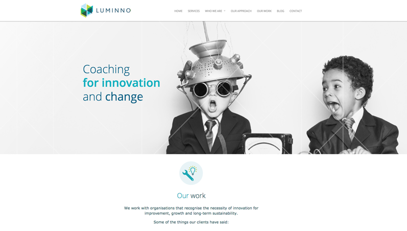 luminno website coaching for innovation website
