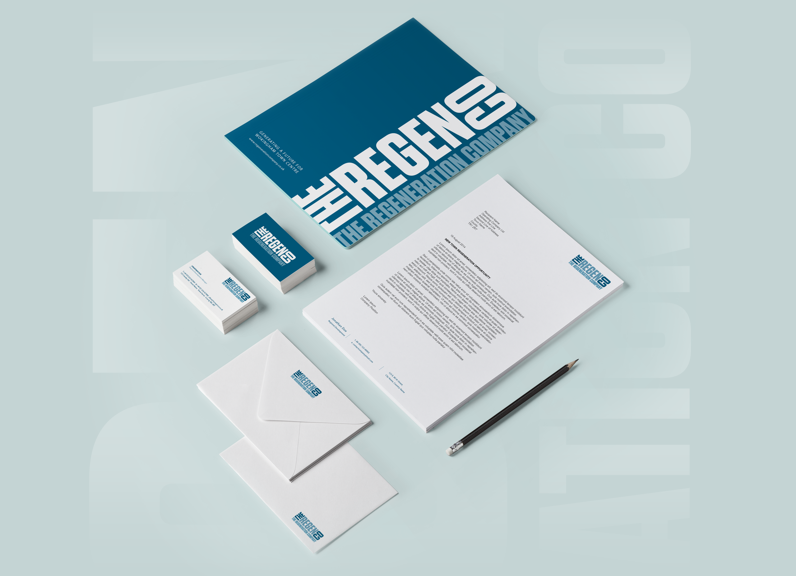 folder, business card, envelope and letterhead design showing the branding application of the regeneration company logo