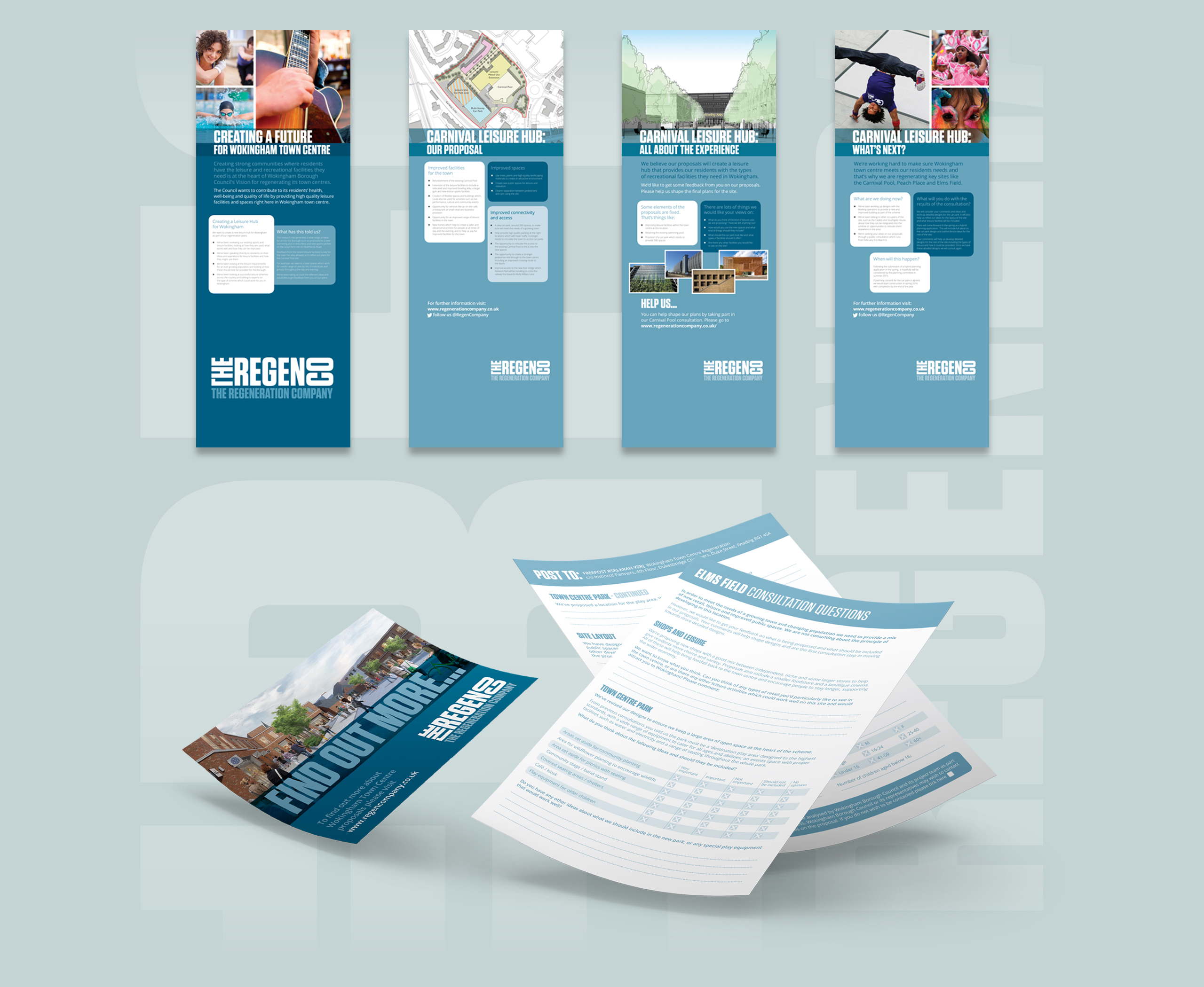 pull up banners showing different options for promoting the projects of the regeneration comapny, also shown are printed consultation questions