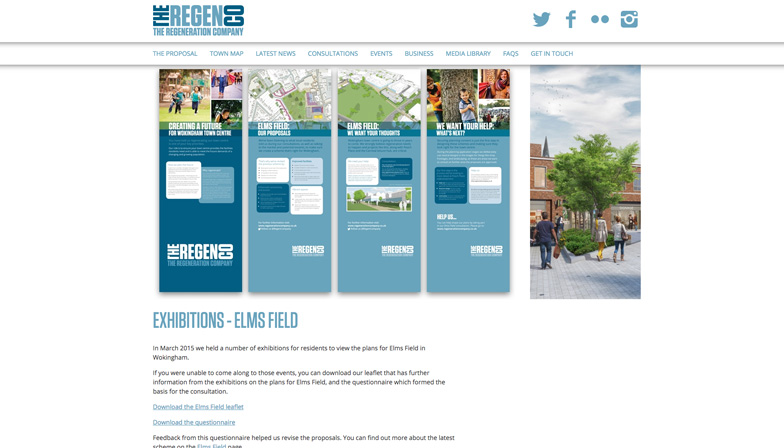 the regeneration company website showing the consultation for the elms field development