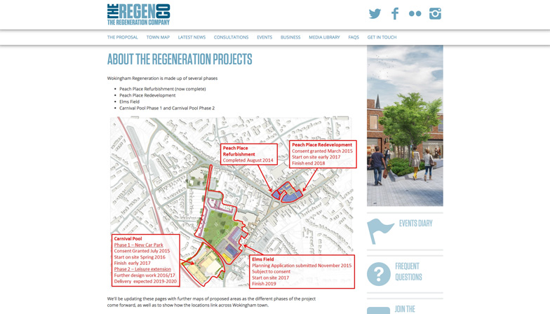 the regeneration company website showing a map of the proposed area of regeneration for one of projects