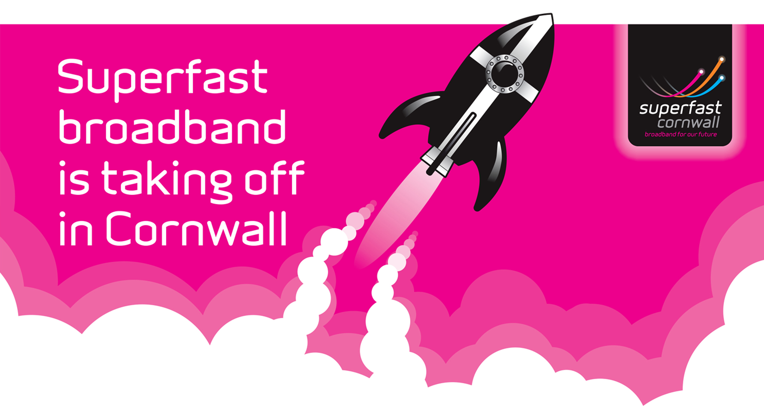 the superfast cornwall rocket graphic and branding identity used across the superfast cornwall campaign
