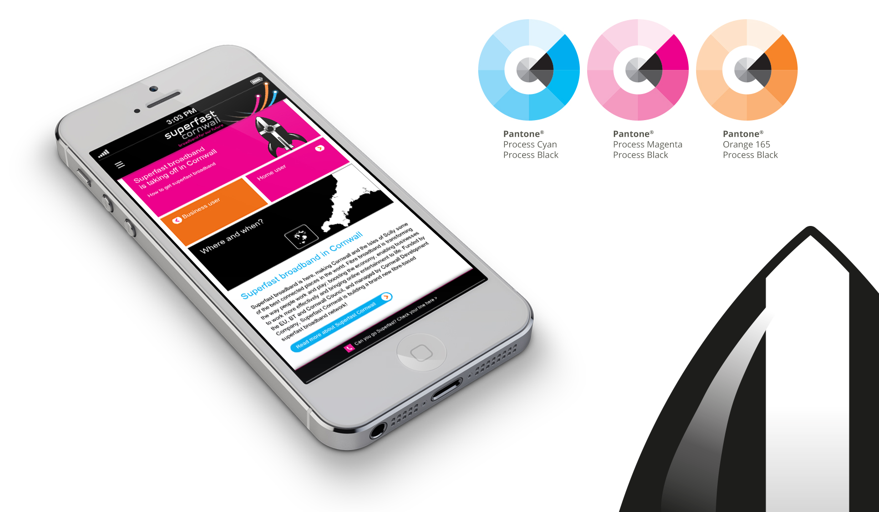 a mobile device showing the responsive website homepage of superfast cornwall, along with pantone wheels of the main colours used in the brand identity