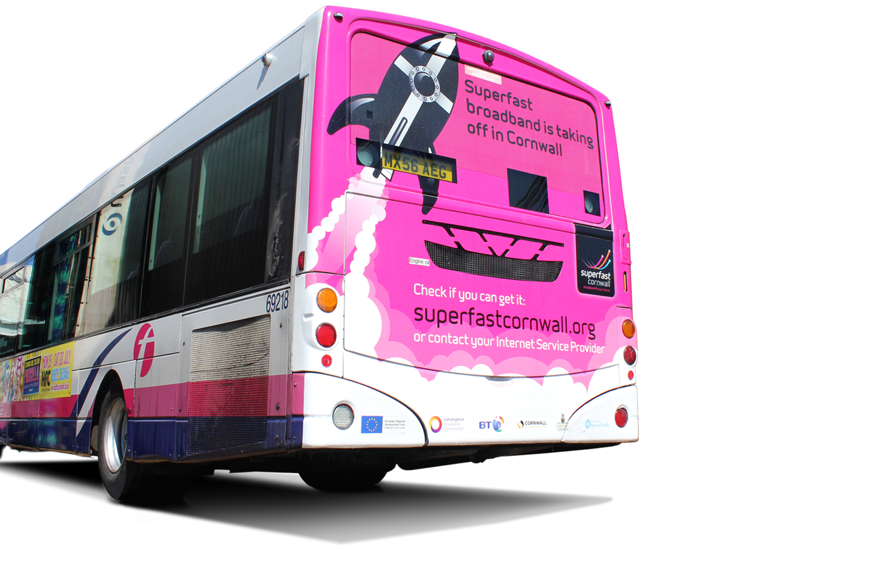 back of a bus with a full wrap design showing the superfast rocket and call to actions