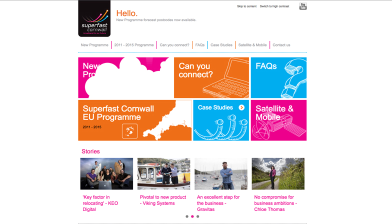 superfast cornwall website homepage
