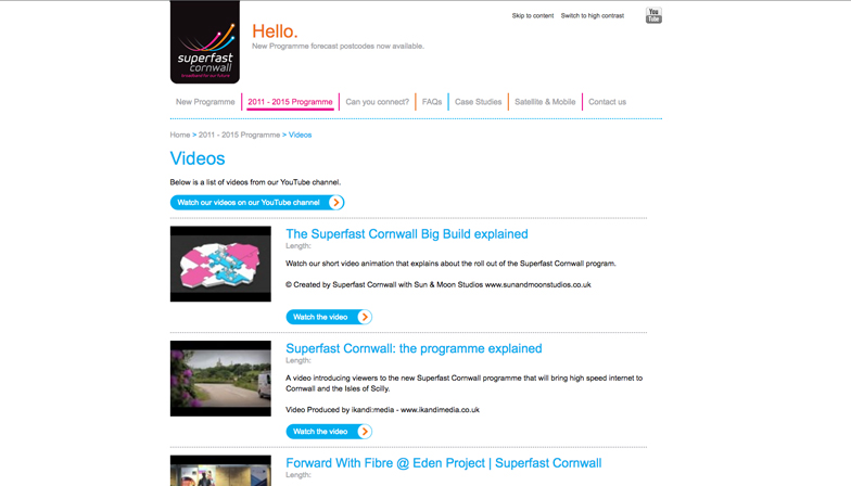 superfast cornwall website page showing useful videos
