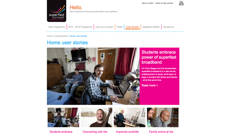superfast cornwall home user stories website page