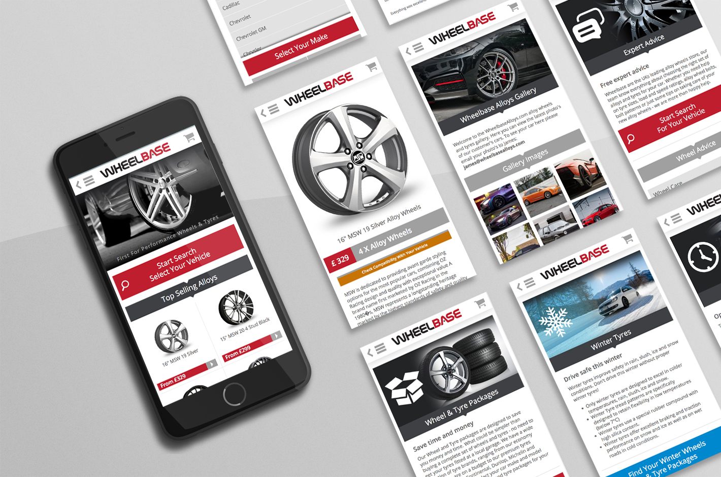 a mobile device with other mobile screens showing various pages from the responsive website design for wheelbase alloys